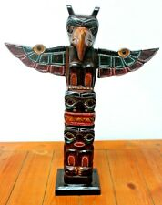 More details for totem pole hand carved wooden painted native american man cave bar decor 40cm