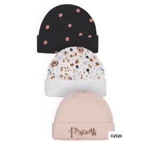 Gerber Baby Girl 3-Piece Organic Cotton Princess Caps Size 0-6M
