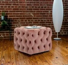 Chesterfield Extra Deep Button Velvet Ottoman Footstool Pouffe Seat Coffee Table