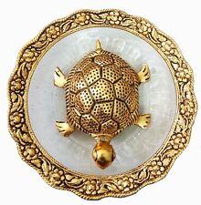 Trendy Crafts Metal Feng Shui Tortoise on Plate Showpiece Golden,Diameter: 5.5