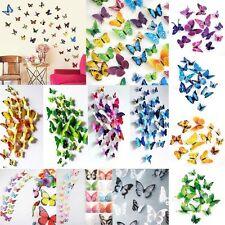 12pcs Papillon 3D PVC Art Design Decal Stickers Muraux Foyer Chambre Déco Hot