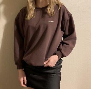 Vintage 90 Nike Check Swoosh Brown Crewneck Sweatshirt Large Travis Scott