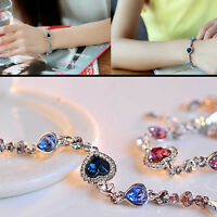 1PC New Fashion Charms Women Ocean Blue Crystal Rhinestone Heart Bangle Bracelet
