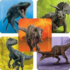 "25 Jurassic World  Dinosaur Stickers Party Favors Rewards Fallen kingdom 1 5/8"""