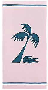 "Beautiful Lacoste Beach Towel 100% Cotton Pink Croco Palm New 36x72"" Big"
