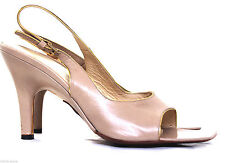 HUGO BOSS ITALY NUDE GENUINE LEATHER GOLD TRIM HIGH HEEL OPEN TOE SHOES 38.5/8.5