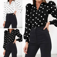 Womens Puff Sleeve Polka Dot V Neck T Shirt Club Party Blouse Tops Tee Plus Size