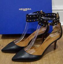 AQUAZZURA FIRENZE Black Leather Studded Ankle Court Pumps Shoes 40 UK7 - NEW!