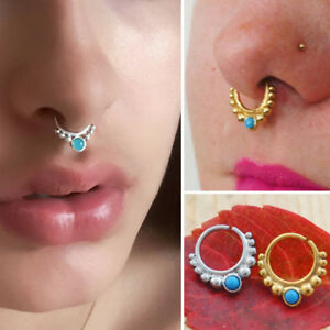 16G Jeweled Sapphire Beaded Trim Jeweled Indian Septum Nose Ring Captive Ring US