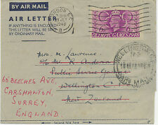 2414 1949 Air Letter GVI 6 D Olympic Games used on the First Day of Issue to NZ