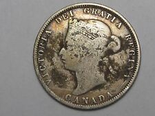 Better-Date 1874-H Canadian Silver 25 Cent Coin. Canada.  #68