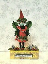 altered art fairy miniature paper pixie handcrafted Christmas wood block