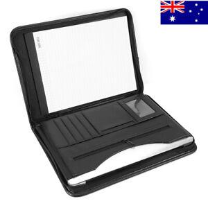 A4 Zipped Conference Folder Business PU Leather Document Portfolio Case Organise