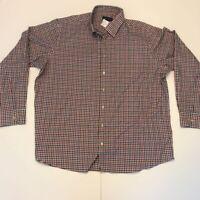 Scott Barber Mens Button Front Shirt White Gingham Long Sleeve XXL New