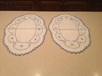 Vintage Crochet Embroidered Doilies Set Of Two Blue & White Very Clean