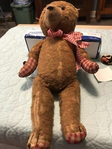 "Antique Vintage 1950s German jointed Teddy Bear Germany 20""long Straw stuffed"