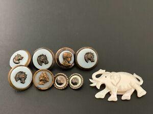 Lot of (9) Antique Vintage Picture Buttons - BUTTON AUCTION #17