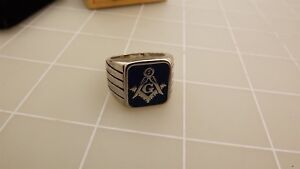 Stainless Steel & BLUE ENAMELED SQUARE AND COMPASS MASONIC FREEMASON RING