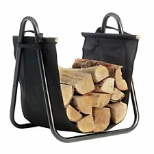 Fireplace Log Holder with Canvas Tote Carrier Indoor Fire Wood Rack Black
