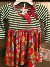 Bonnie Baby Christmas Green Stripe Red Print Dress W/Diaper Cover/Panty 12 Month