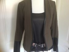 H&M fitted jacket size 6 dark green with black faux leather trim lined good con