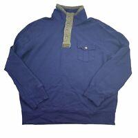 Polo Ralph Lauren 1/4 Zip Up Henley Sweatshirt Snaps Zip Men's 2XL XXL VTG Navy