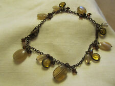 "Tarnished Brass Tone Orange & Beige Plastic Bead Chain Bracelet - 9-10"" long"