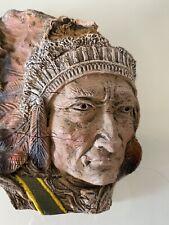 "Native American Indian Head Sculpture Resin  Art  5.5"" tall x 6.25""W"