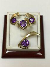 9 Carat Yellow Gold DIAMOND & AMETHYST CLUSTER Ring Earrings & Pendant SET
