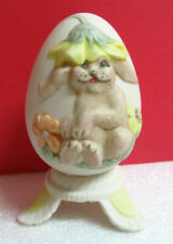 Rabbit Bunny with Flowers Egg Spring Easter 3D Figurine