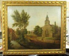 EINZIGARTIGE BILDER RAHMEN-UHR MIT 1/4 St. SCHLAG .ca.1810. SPINDEL HEMMUNG.