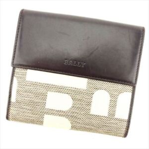 Bally Wallet Purse Folding wallet Brown Beige Woman unisex Authentic Used P740