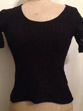 Black Short Sleeve Lace One Size 12 T Shirt Top