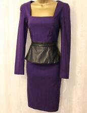 Paper Dolls Faux Leather Peplum Sleeved Bodycon Party Evening Pencil Dress 8 36