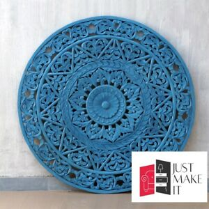 MADE TO ORDER Dynasty Hand Carved Indian Solid Wood Round Wall Decorative Carved