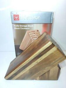 Wusthof 17 Slot Wooden Knife Storage Block Acacia Gorgeous open box NEW