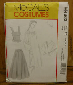 McCall's Pattern M4863 Colonial Dress Corset Skirt Shawl Outfit Costume Sz 14~20