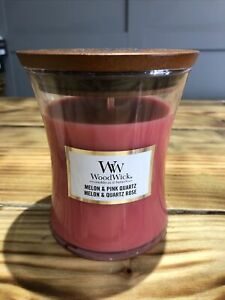 Woodwick Candle Medium Hourglass Melon And Pink Quartz
