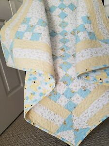 """Ducks and Ducklings"" Handmade Baby Quilt, Machine quilted Blue/Yellow  9 Patch"