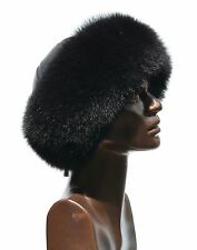 Premium Saga Furs Jet Black Fox Fur Black Leather Winter Roller Beret Boonie Hat