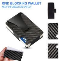 Herren Carbon Metall Kreditkartenetui Kredit-Karten Geldklammer Blocker Mode