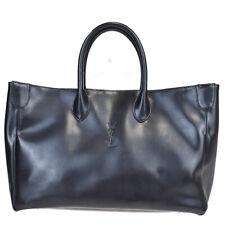 Authentic YVES SAINT LAURENT YSL Logo Hand Tote Bag Leather Black 36MC431
