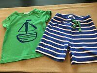 Baby Boden Boys 3-6 Months Navy Blue White Stripe Shorts & Green Sailboat Shirt