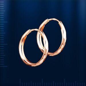 Kreolen Ohrringe 17 mm russisches Rotgold 585 rose Gold Neu hoop earrings NEU