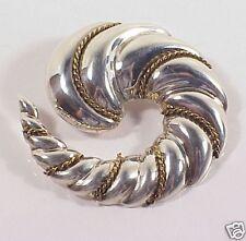Sterling Silver & Brass Cord Swirling Pin Brooch