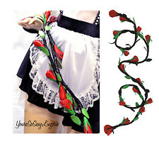Elegant REAL LEATHER RED ROSE VINE *Genuine* Rope Whip on BLACK VINE Ruff Doggie