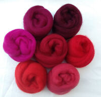 "7 colors Simply Reds Wool roving 1oz ea 2 ~50"" corriedale felt wet soap cherry"
