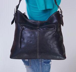 TIGNANELLO Large Black Leather Shoulder Hobo Tote Satchel Purse Bag