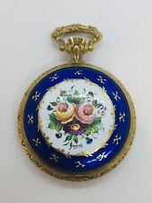 Arnex Vintage Baño de Oro con Esmalte Azul Floral Adorno Reloj de Bolsillo