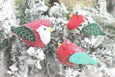 GISELA GRAHAM CHRISTMAS FABRIC VINTAGE BIRD ROBIN CLIP ON  DECORATION X 3